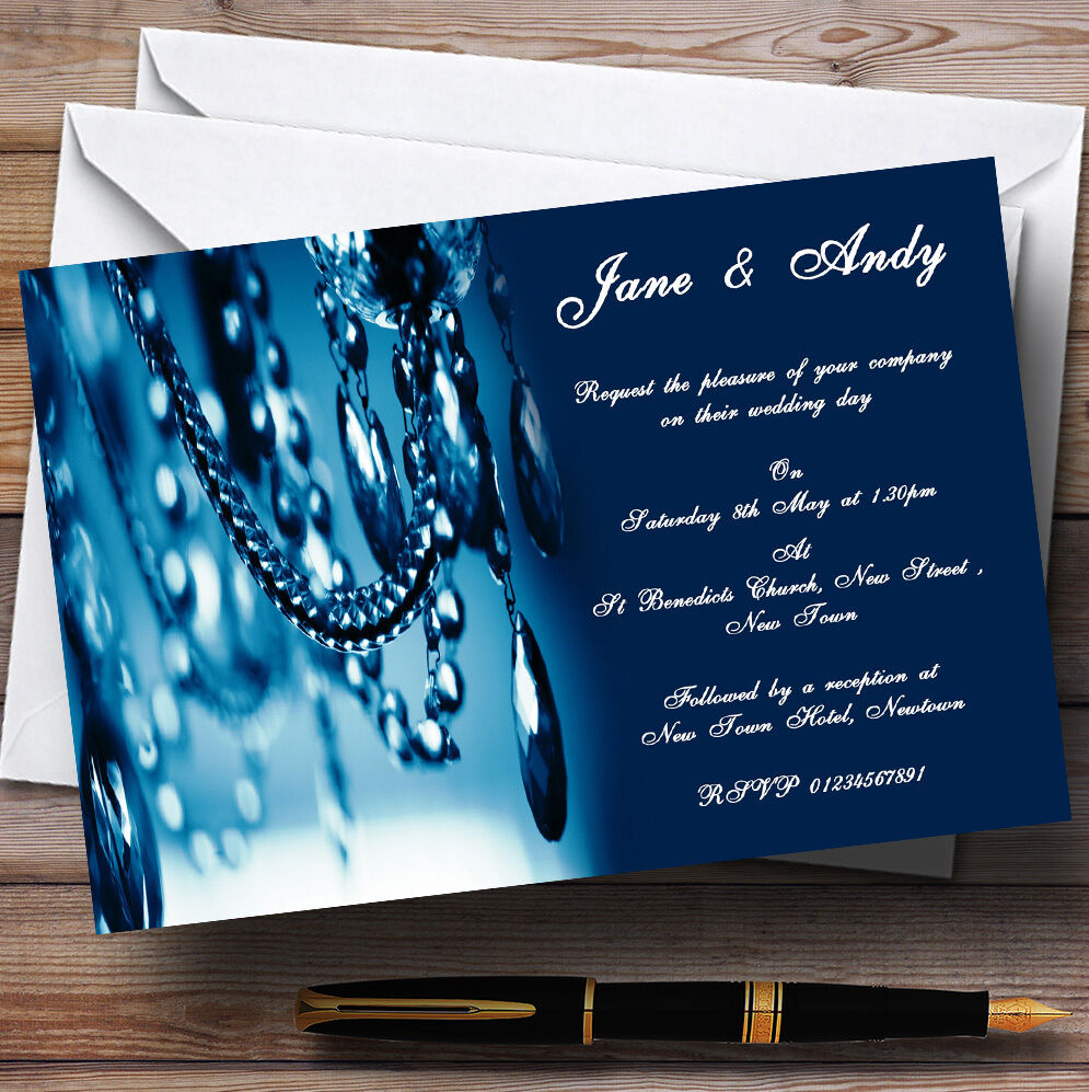 Blau Crystal Chandelier Personalised Wedding Invitations