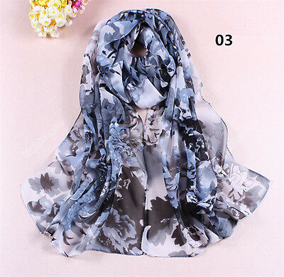 New Women Lady Chiffon Soft Long Neck Scarf Shawl Scarves Stole Wraps Black