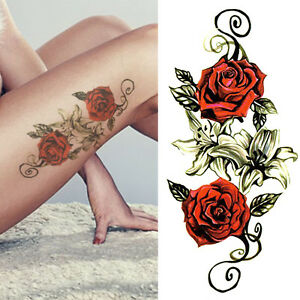 Sexy Red Rose Flower Arm Leg Tattoo Women Temporary Waterproof Body