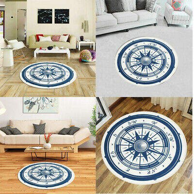 Retro Compass Round Floor Yoga Mat Bedroom Carpet Living Room Decor Area Rugs