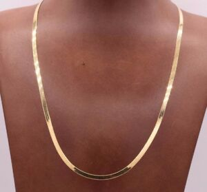 High-Polished-Herringbone-Necklace-Chain-14K-Solid-Yellow-Gold-3-0mm-ALL-SIZES