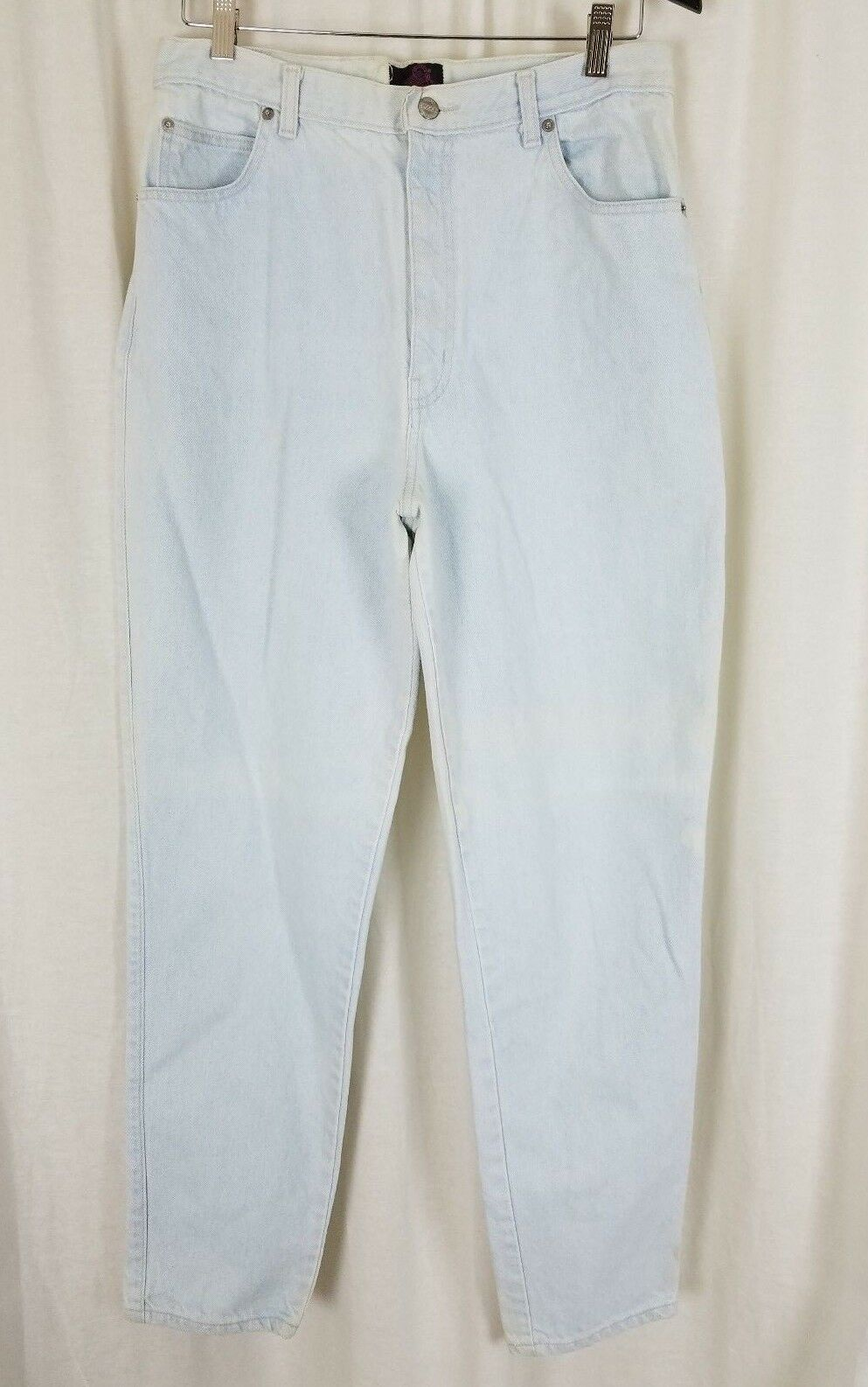 Vintage Sasson High Waist Tapered White Washed Mom Jeans Womens 15 16 Denim bluee