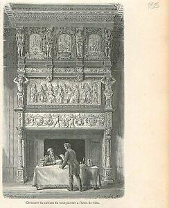 Cheminee-Cabinet-Bourgmestre-Hotel-de-Ville-Bruxelles-GRAVURE-ANTIQUE-PRINT-1880