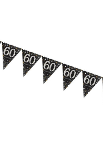 Black Sparkling 60th Birthday Bunting