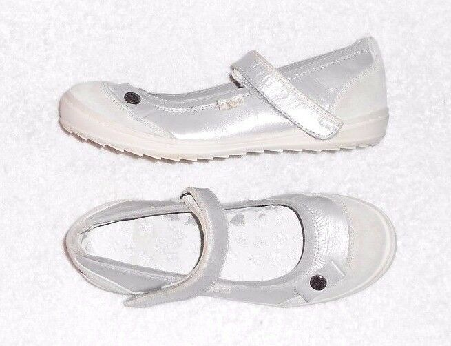 P-L-D-M by PALLADIUM ballerines  cuir grey silveré P 37 = 37 ½  TBE