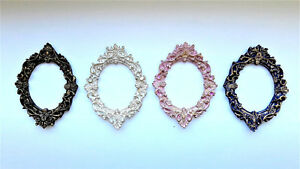 Oval-Mini-Frames-Set-of-4-Frames-Black-White-Pink-Blue-Gold-Patina-Classic-Style