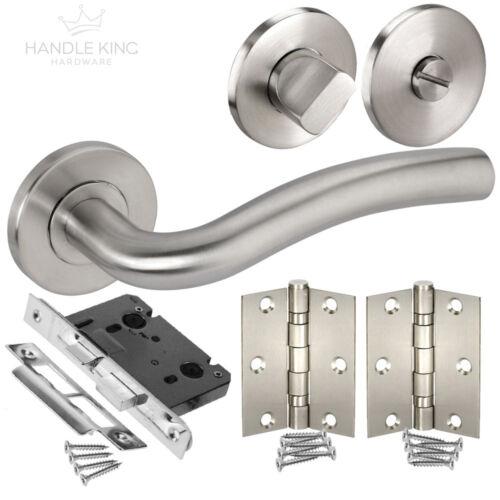Turn /& Hinges Bathroom Door Handle Pack with Stainless Steel Door Handles Lock