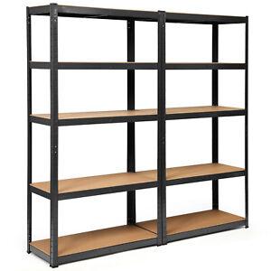 "Costway 2 72"" Heavy Duty Storage Shelf Steel Garage Rack 5 Level Adjusting Black"