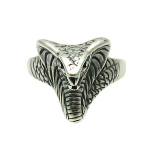 Filigree silver ring as snake, King Cobra, 925 silver