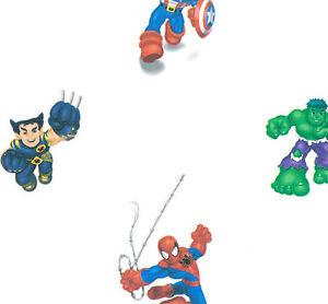 Image is loading Marvel-Kids-Spiderman-amp-Friends-on-White-Wallpaper-