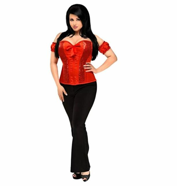 04afd09d22 Daisy Corsets Top Drawer Red Steel Boned Molded Cup Sequin Corset M ...