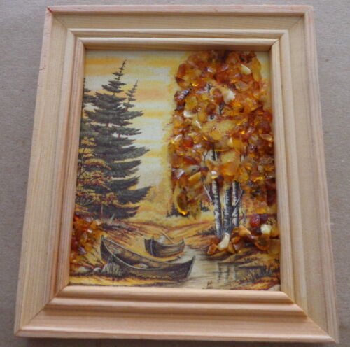 wooden Baltic Amber handmade landscape picture