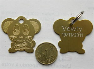 Medaille Gravee Souris Or Chien Chat Collier Medalla Cane Hund Katze Wqaynmsm-10044617-321250346