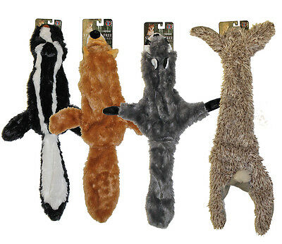 """4 Stuffing Free Furry Dog Puppy 20"""" Toys w/Squeakers Raccoon, Rabbit, Fox, Skunk"""