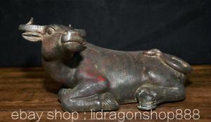 "10.8 ""Ancien Chine Bronze Folk Feng Shui Zodiaque Animal Boeufs Richesse Statue"