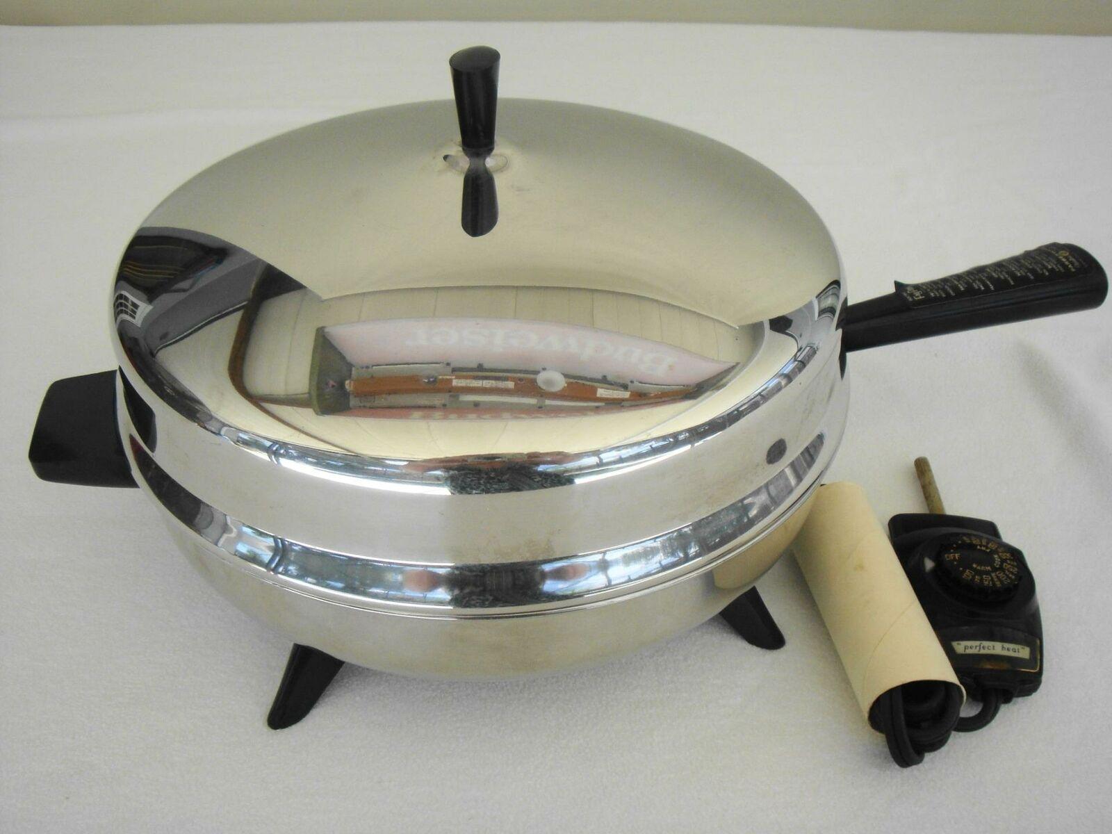 Vintage Couleurrware 12  électrique en acier inoxydable Fry Poêle Poêle - 310-A