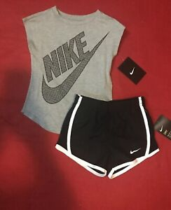 Nike Toddler Girls Set Athletic Cut T-Shirt /& Dri-Fit  Lined Shorts 2T 3T 4T