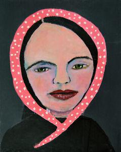 Girl Scarf Polka Dots Outsider Art Original Portrait Painting Katie Jeanne Wood