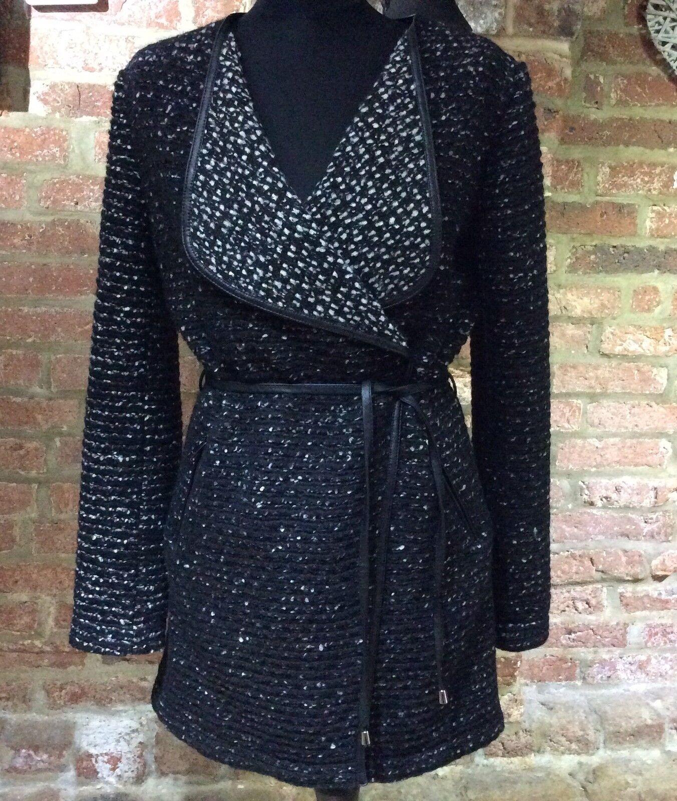 Oui Luxury Edition Leather Trim Coat - Cardigan UK10 (12 14) -BNWT RRP .00