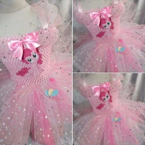 Pinkie Pie Pink Sparkly My Little Pony Inspired Tutu Dress Handmade Age 3-10