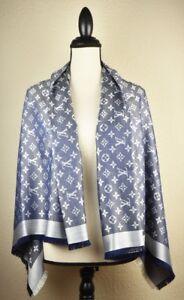 ab43846c6033 NEW LV Monogram Denim BLUE Silk Scarf Shawl 100% Authentic M71376 ...