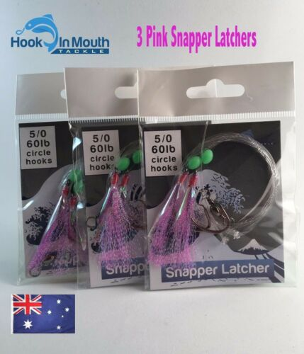 3 Surf Fishing Rigs Pink Paternoster 60lb 50 Circle Hooks Snapper Salmon