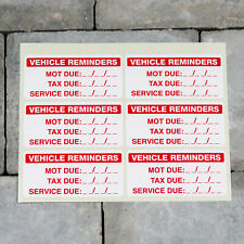 MOT and Insurance Due reminder windscreen sticker disc x2 Road Tax