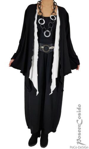 LAGENLOOK Tunika Shirt Jacke 44 46 48 50 52 54 56 58 L-XL-XXL-XXXL schwarz weiß
