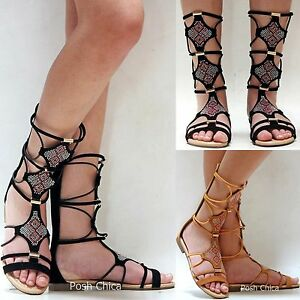 e8e6f213d2 Details about New Women FAta21 Black Tan Beaded Mid Calf Roman Gladiator  Flat Sandals 6 to 10