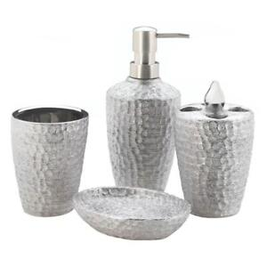 4 pc metallic hammered crush silver Bathroom Accessories ...