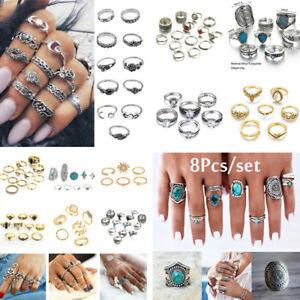 Retro-10Pcs-Set-Silver-Gold-Boho-Fashion-Arrow-Moon-Midi-Finger-Knuckle-Rings