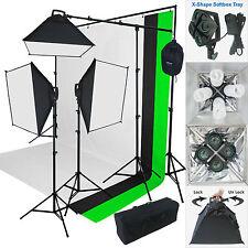 2000 Watt Photo Studio Lighting Kit With 3 Color Muslin Backdrop Stand AM07