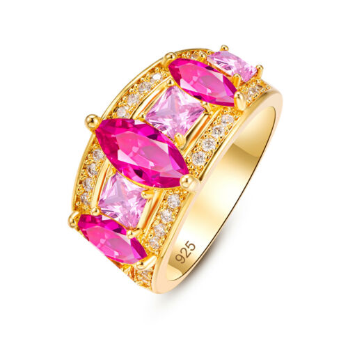 Luxe Fashion marquise rubis citrine Morganite gemme argent or jaune Bague