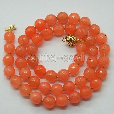 "New Arrival 8mm Orange Faceted Jade Gems Beads Necklace 17""-18"""