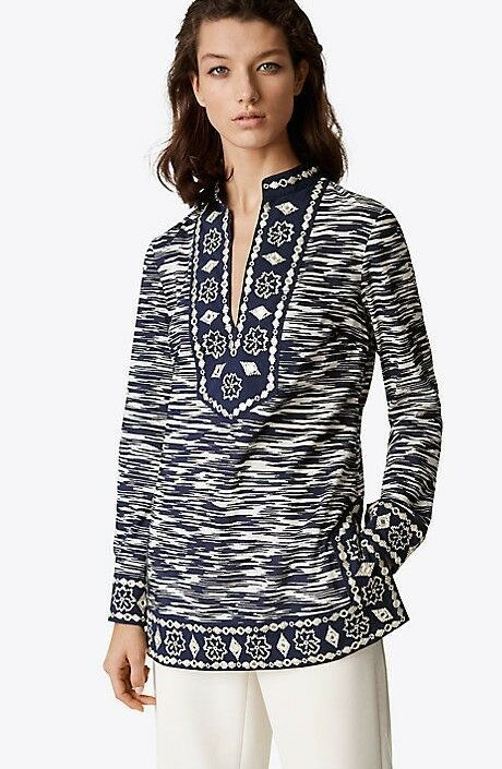TORY BURCH Embellished Tory TUNIC Navy Größe 10 or Größe 8 348 (New with Tags)
