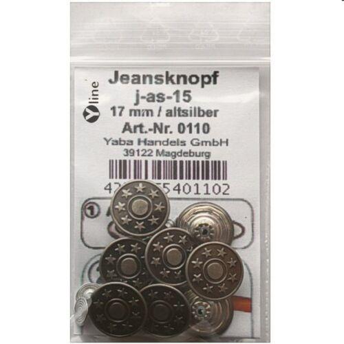 Jean-boutons Altsilber 17 mm j-as-15 8 Métal- nähfreiknöpfe boutons de chemise