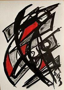 SEVARD Abstrakte Komposition Gemälde Zeichnung A4 Original Signiert Unikat N418
