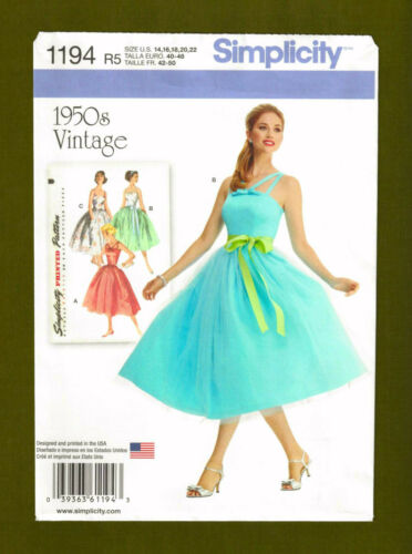 Vintage Rockabilly Dress Sewing Pattern~Full Skirt Sizes 14-22 Simplicity 1194