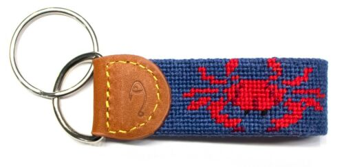 Crab Needlepoint Key Fob or Key Chain by Huck Venture Handmade Animal