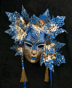 Maschera Di Venezia Viso Magnolia Dorata E Mache Metallo -2056-GARPTE6
