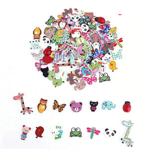 50X-Mixed-DIY-Wooden-Popular-Scrapbooking-Buttons-Cartoon-Sewing-Animal-Craft-MD