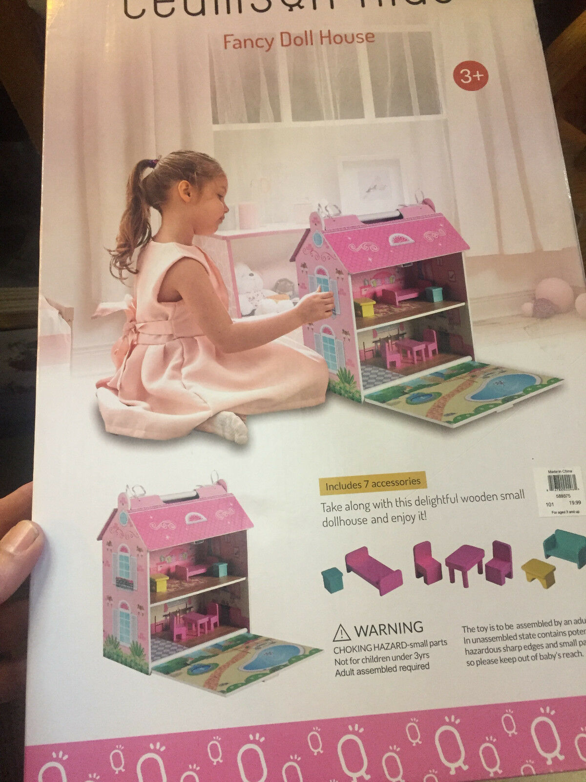 Teamson Kids Kids Kids - Fancy Mansion Wooden Doll House with 7 pcs Furniture NEW IN BOX 890d9d