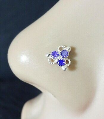 Silver Nose Screw Sapphire Nose Stud Traditional Nose Jewelry Indian Nose Ring Ebay