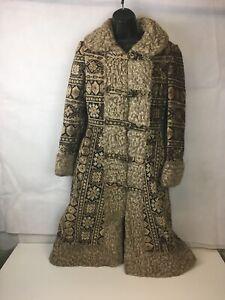 Vtg 60s Long Winter Chenille Carpet Tapestry Coat Jacket Fur Trim Womens Sm Med Ebay