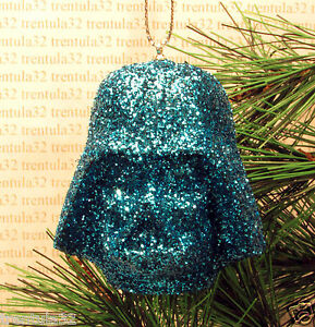 image is loading star wars darth vader light blue glitter helmet - Light Blue Christmas Ornaments