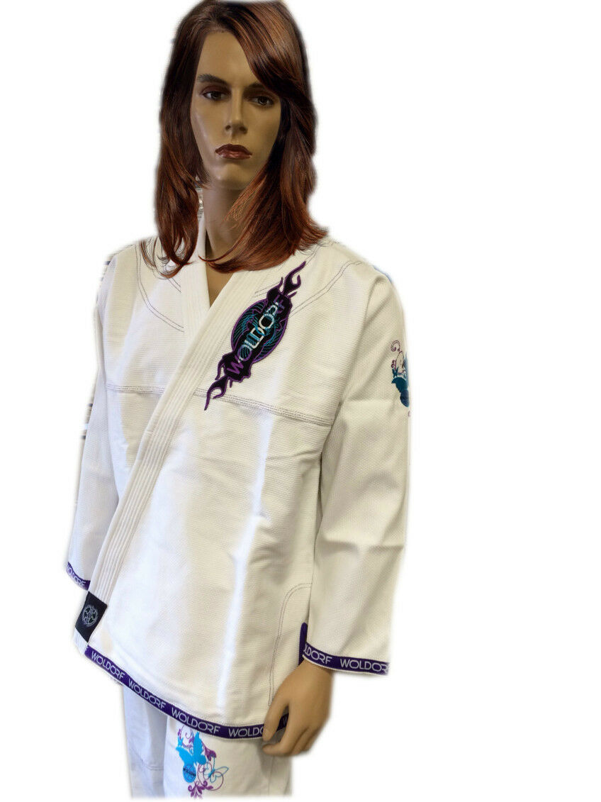 Woldorf USA BJJ  Jiu Jitsu uniform gi Pearl Weave for Women Competition White  all in high quality and low price