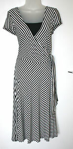 WALLIS-UK10-EU38-BLACK-WHITE-STRIPE-STRETCH-JERSEY-DRESS-WITH-BUILT-IN-CAMISOLE