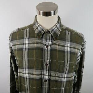 Woolrich-Mens-Long-Sleeve-Button-Down-Army-Green-Plaid-Casual-Flannel-Shirt-XL