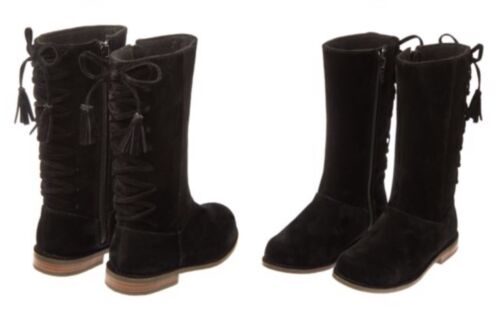 Gymboree NWT Right Meow Girls Black Velvet Suede Boots Lace Up Zipper 9 /& 12