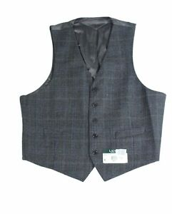 Lauren by Ralph Lauren Mens Suit Vest Gray Blue Size 44 Short Plaid $125 066
